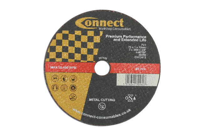 30460 Connect 75mm x 1mm Cut-off Discs - Pack 10
