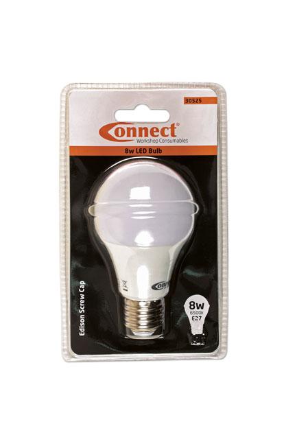 30525 8W LED Bulb 6500K E27 ES Fitting Cold White - Pack 1