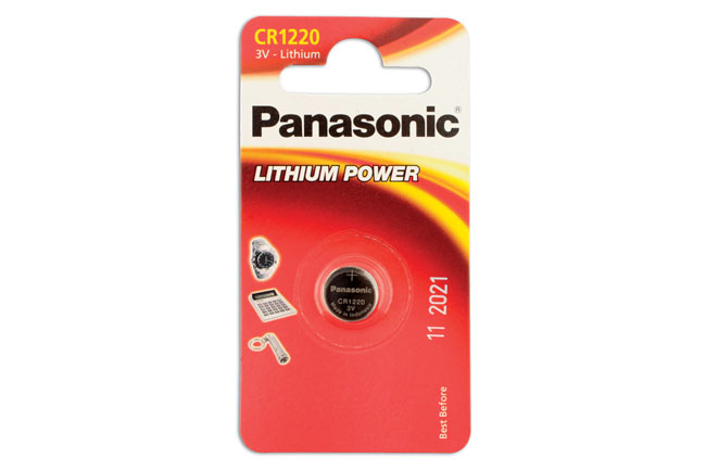 30658 Panasonic Coin Cell Battery CR1220 3v 12 x 1 Cards