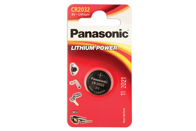 30663 Panasonic Coin Cell Battery CR2032 3v 12 x 1 Cards