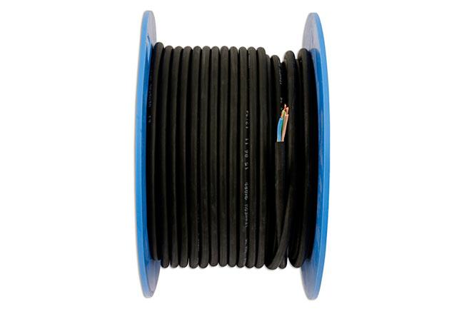 30671 Black 3 Core Mains Cable 10 Amp 50m
