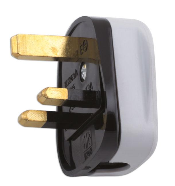 30676 High Impact White Plug Tops 13-amp - Pack 10