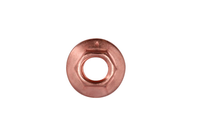 30742 Copper Flashed Nut Flanged & Self Locking M8 x 1.25 x 10mm Hex 5pc