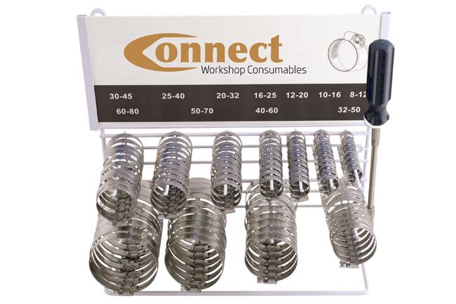 31709 SS Hose Clip Rack C/w Hose Clip Driver - 110 Pieces