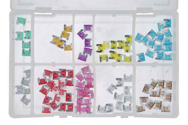 31858 Assorted Low Profile Mini Blade Fuses Box 100pc