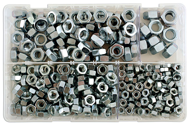 31860 Assorted MM Plain Steel Nuts Box - 370 Pieces