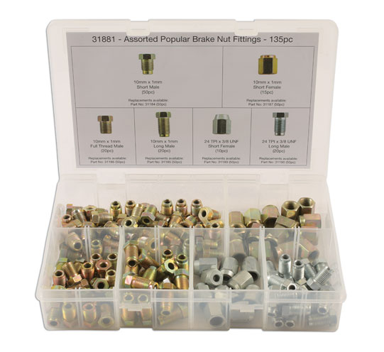 31881 Assorted Popular Brake Nut Fittings Box 135pc