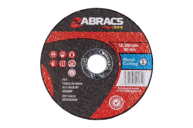 32058 Abracs 100mm x 3.0mm Flat Cutting Discs - Pack 25