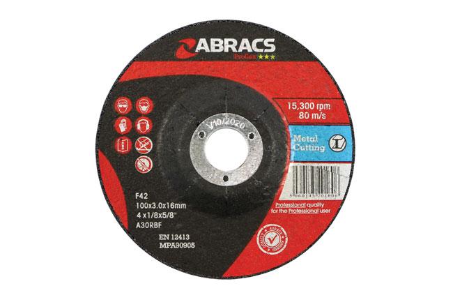 32190 Abracs Metal Grinding Discs 100mm x 6.0mm - Pack 10