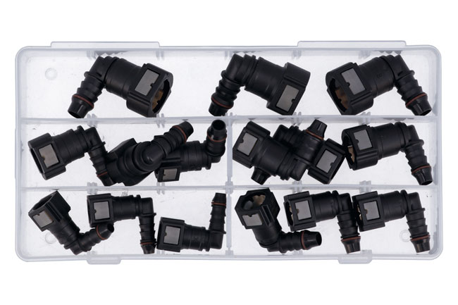 34030 Assorted Fuel Line Angled Quick Connectors - 15 Pieces