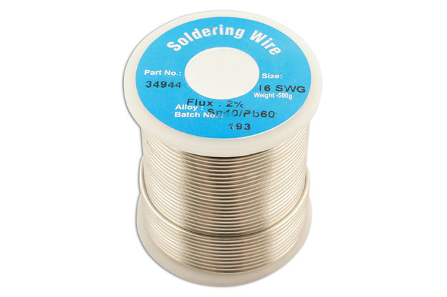 34944 Solder Wire 16 SWG/1.6mm 0.5kg Reel - Pack 1