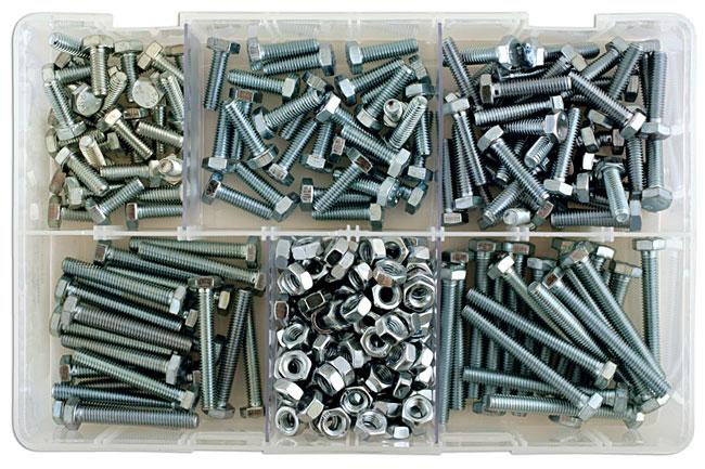 35010 Assorted M6 Setscrews & Nuts Box - 295 Pieces