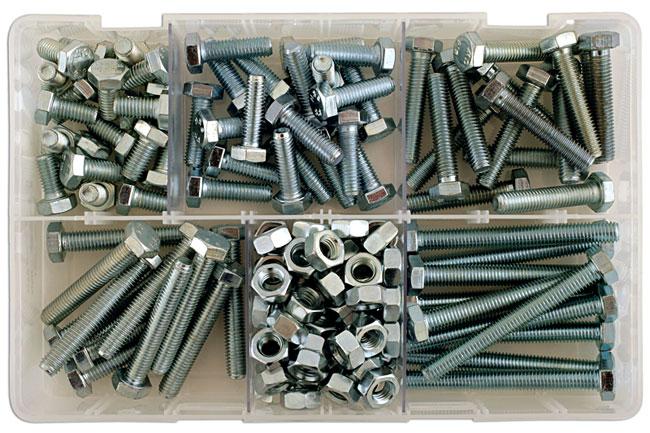 35011 Assorted M8 Setscrews & Nuts Box - 154 Pieces