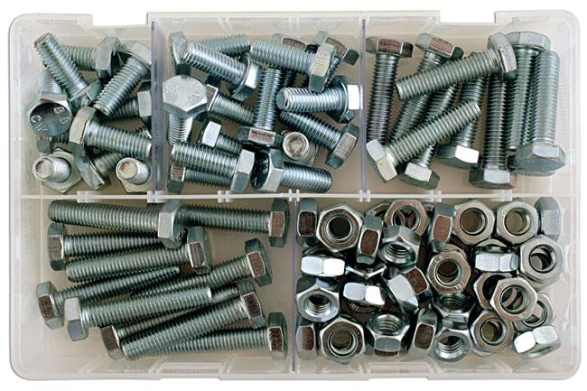 35012 Assorted M10 Setscrews & Nuts Box - 88 Pieces