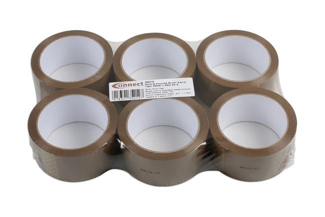 35212 General Purpose Brown Parcel Tape 48mm x 66m 6pc