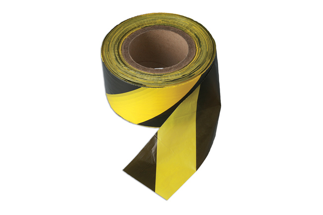 35364 Black & Yellow Barrier Tape 75mm x 500m Non Adhesive 1pc