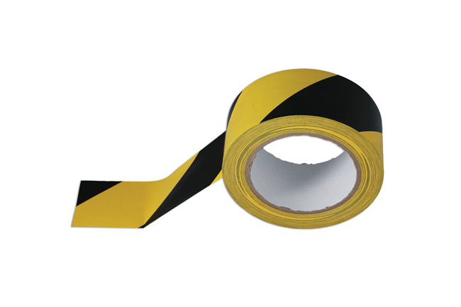 35366 Black & Yellow Barrier Tape 50mm x 33m Adhesive Pack 1