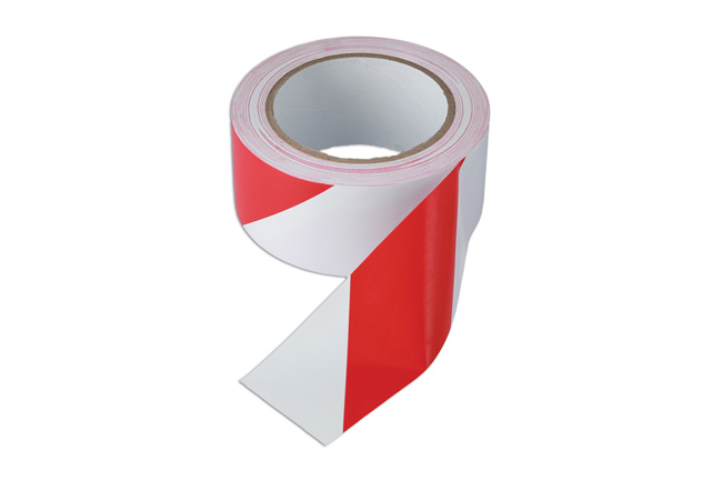 35367 Red & White Barrier Tape 50mm x 33m Adhesive Pack 1