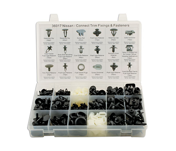 Front image of Connect Workshop Consumables | 36017 | Nissan Assorted Trim Clips - 408 Pieces