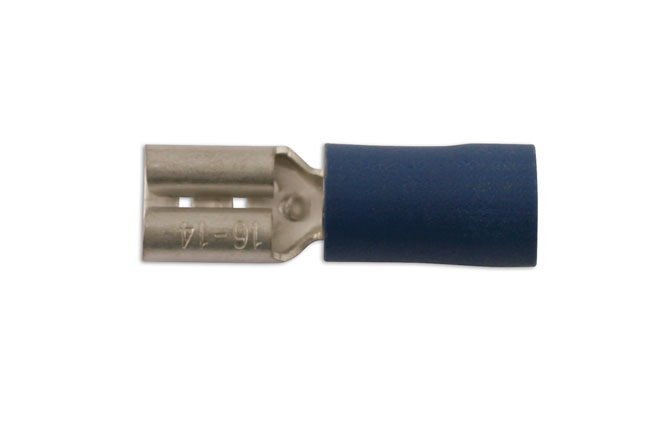 36872 Blue Female Push On Insulated Terminal 6.3mm - Pack 10