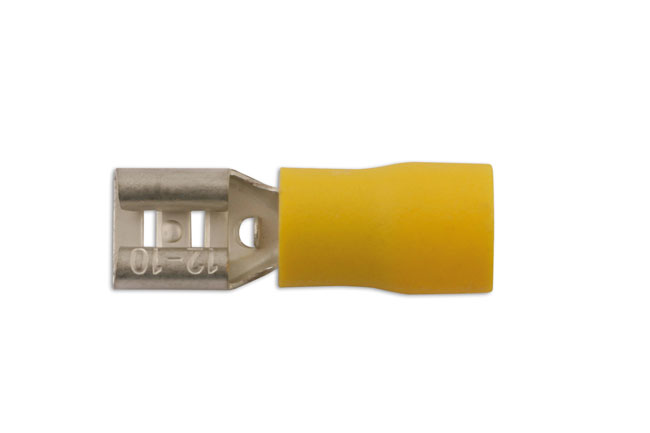 36878 Yellow Female Push On Insulated Terminal 6.3mm - Pack 10