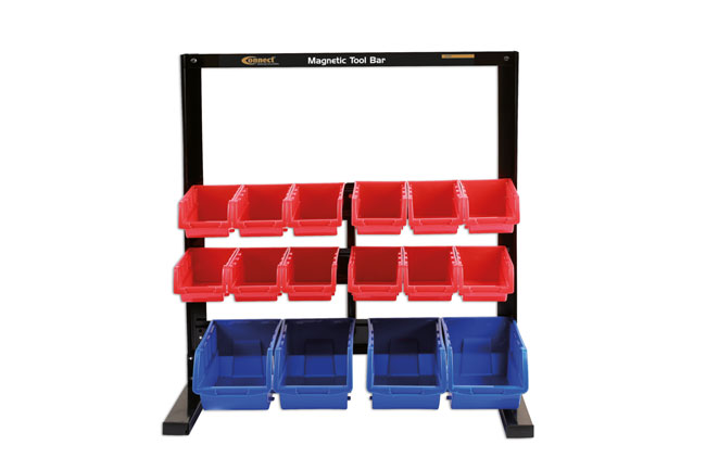36996 16 Storage Bin System with Magnetic Bar For Tool Storage