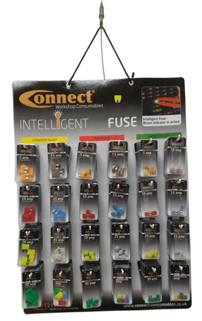 ~/items/xlarge/Hanging image of Connect Workshop Consumables | 37130 | LED Blade Fuse Wall Rack Complete with 144 Blisters