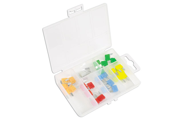 ~/items/xlarge/Angled image of Connect Workshop Consumables | 37157 | LED Mini Blade Fuse Assorted Box - 30 Pieces