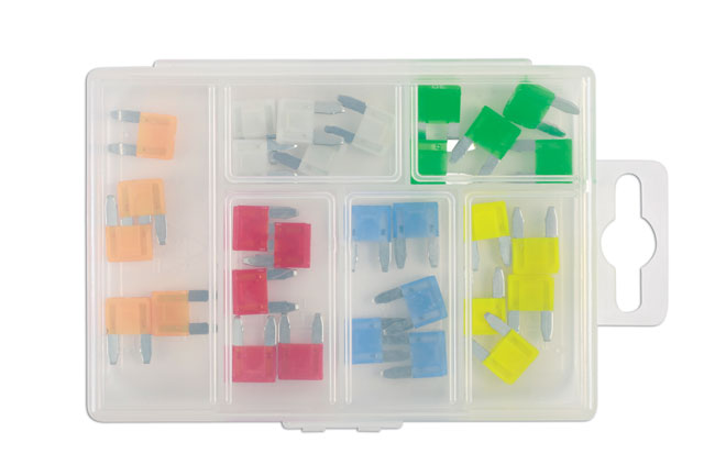 ~/items/xlarge/Cased image of Connect Workshop Consumables | 37157 | LED Mini Blade Fuse Assorted Box - 30 Pieces