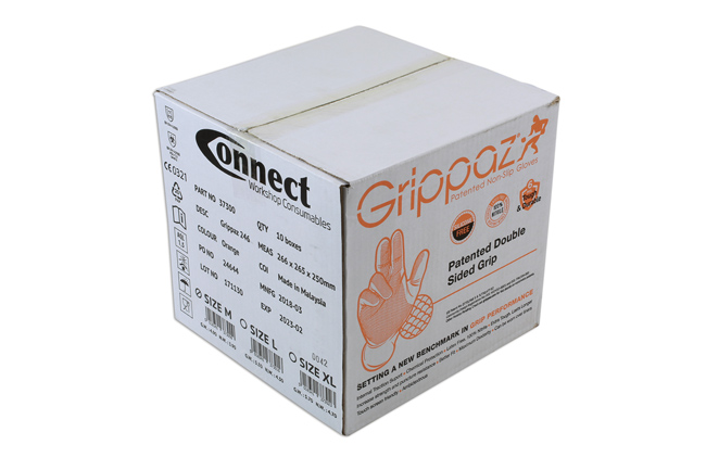 ~/items/xlarge/PackagingBox image of Connect Workshop Consumables | 37300 | Grippaz Medium Orange Nitrile Gloves Box -50 Pieces/25 Pairs