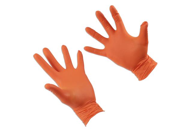 37301 Grippaz Large Orange Nitrile Gloves Box - 50 Pieces/25 Pairs
