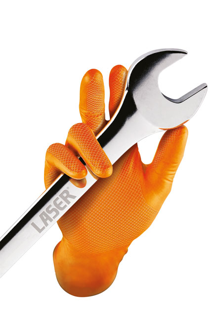 ~/items/xlarge/37301InSitu image of Connect Workshop Consumables | 37300 | Grippaz Medium Orange Nitrile Gloves Box -50 Pieces/25 Pairs