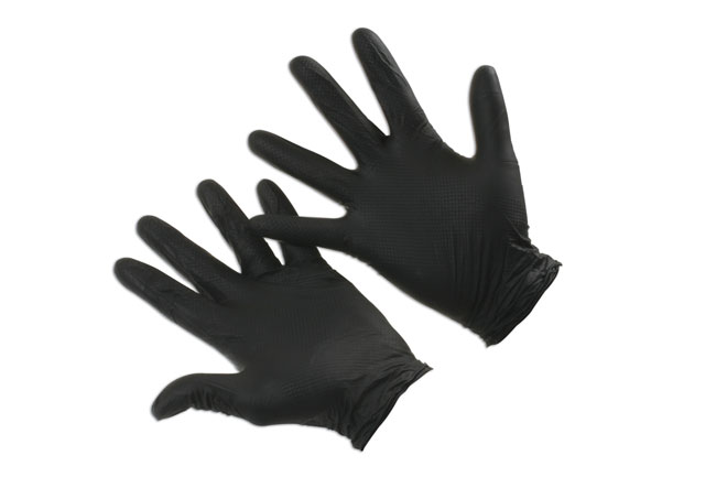~/items/xlarge/Gloves image of Connect Workshop Consumables | 37305 | Grippaz Medium Black Nitrile Gloves Box - 50 Pieces/25 Pairs