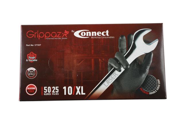 37307 Grippaz XLarge Black Nitrile Gloves Box - 50 Pieces/25 Pairs