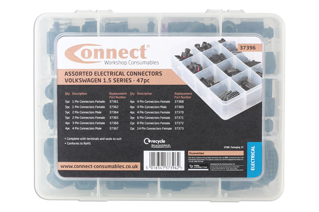 ~/items/xlarge/Packaging image of Connect Workshop Consumables | 37396 | Assorted VW Electrical Connectors 1.5 Series 47pc