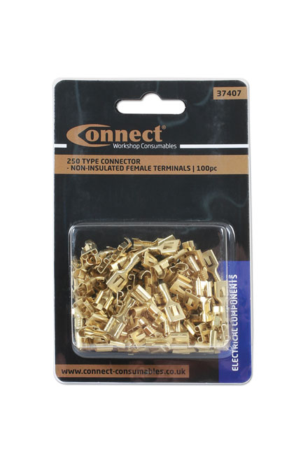 ~/items/xlarge/Packaging image of Connect Workshop Consumables | 37407 | 250 Type Connector Non Insulated Female Terminals Pack 100