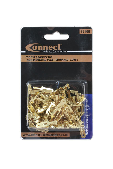 ~/items/xlarge/Packaging image of Connect Workshop Consumables | 37408 | 250 Type Connector Non Insulated Male Terminals - Pack 100
