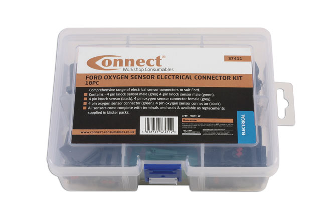 ~/items/xlarge/Packaging image of Connect Workshop Consumables | 37411 | Assorted Ford Oxygen Sensor Electrical Connector Kit - 18 Pc