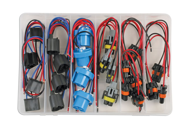 ~/items/xlarge/Overhead image of Connect Workshop Consumables | 37414 | Assorted Ford & GM Headlight Electrical Connector Kit - 24pc