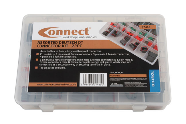 ~/items/xlarge/Packaging image of Connect Workshop Consumables | 37415 | Assorted Deutsch DT Connector Kit - 22 Pieces