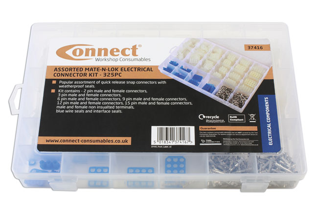 ~/items/xlarge/Packaging image of Connect Workshop Consumables | 37416 | Asstd Mate-N-Lok Electrical Connector Kit - 325 Pieces