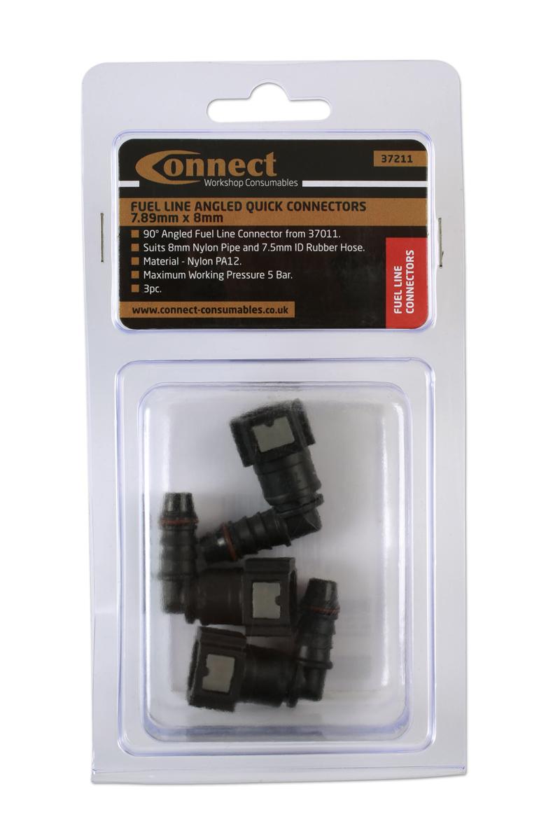 Fuel line angled quick connectors mm pk