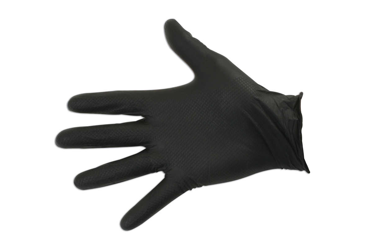 Black Nitrile Gloves Large 10 Pairs Rolled